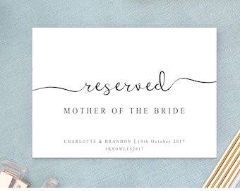 Reserved Wedding Ceremony Seating Sign, Reserved Chair Sign Template, DIY Wedding Ceremony Reserved Seat Sign, The One, INSTANT DOWNLOAD