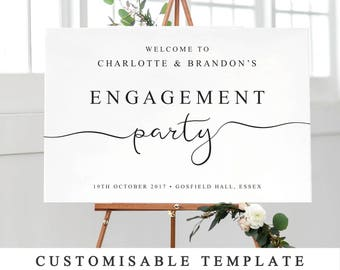Personalised Engagement Party Sign, Printable Welcome to Our Engagement Sign, DIY Wedding Engagement Party Template 5 Sizes INSTANT DOWNLOAD