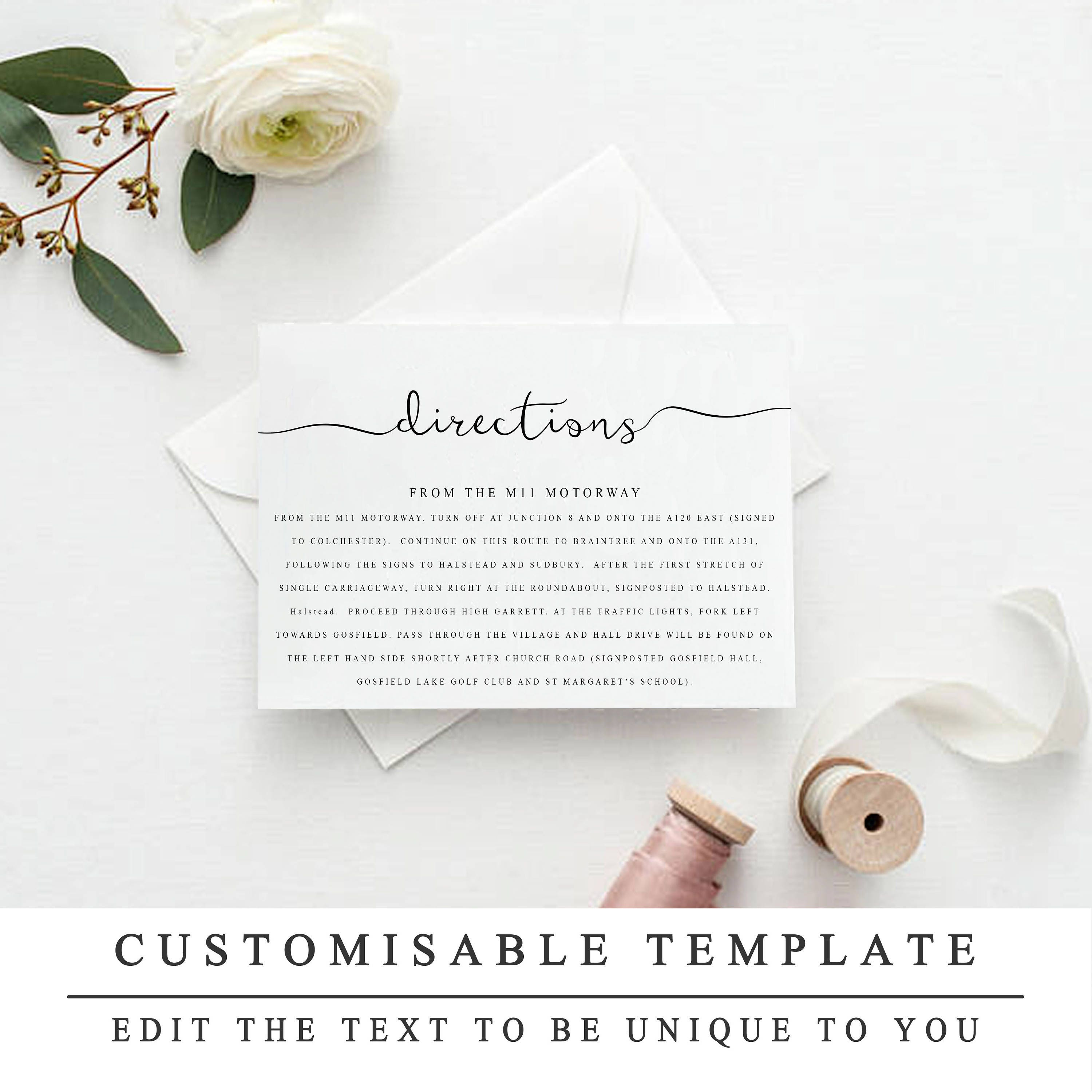Printable Wedding Directions Template Wedding Insert Cards