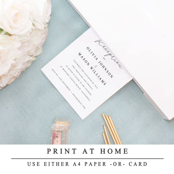 Print At Home Evening Reception Wedding Invitation Template Diy Printable Wedding Reception Guest Template 4x6 5x7 Instant Download