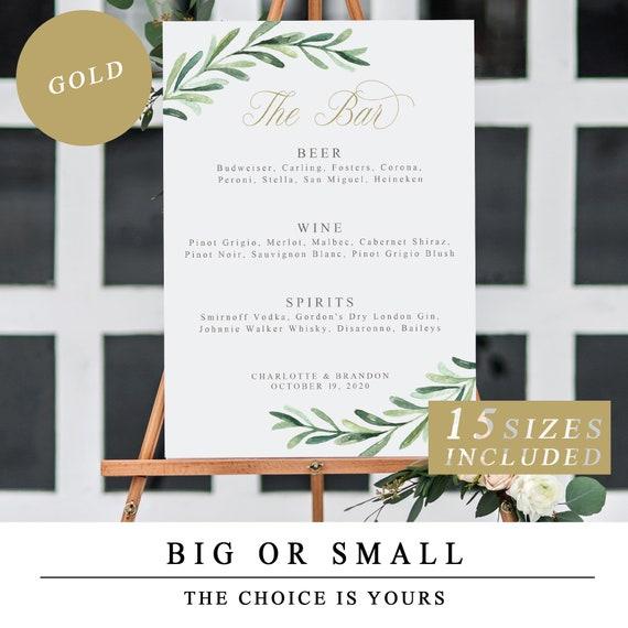 Editable Wedding Bar Menu Sign Greenery Wedding Bar Sign With Etsy