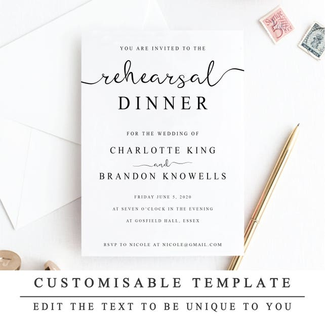 Printable Rehearsal Dinner Invitation Template The Night Before
