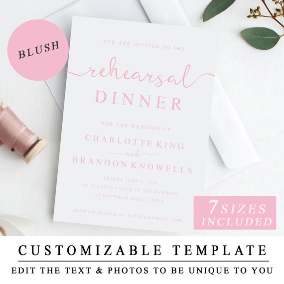 image about Printable Rehearsal Dinner Invitations known as Personalized Crimson Rehearsal Meal Invitation Template, Printable Rehearsal Invitation, Blush Marriage Rehearsal Supper Invite PDF Immediate Down load