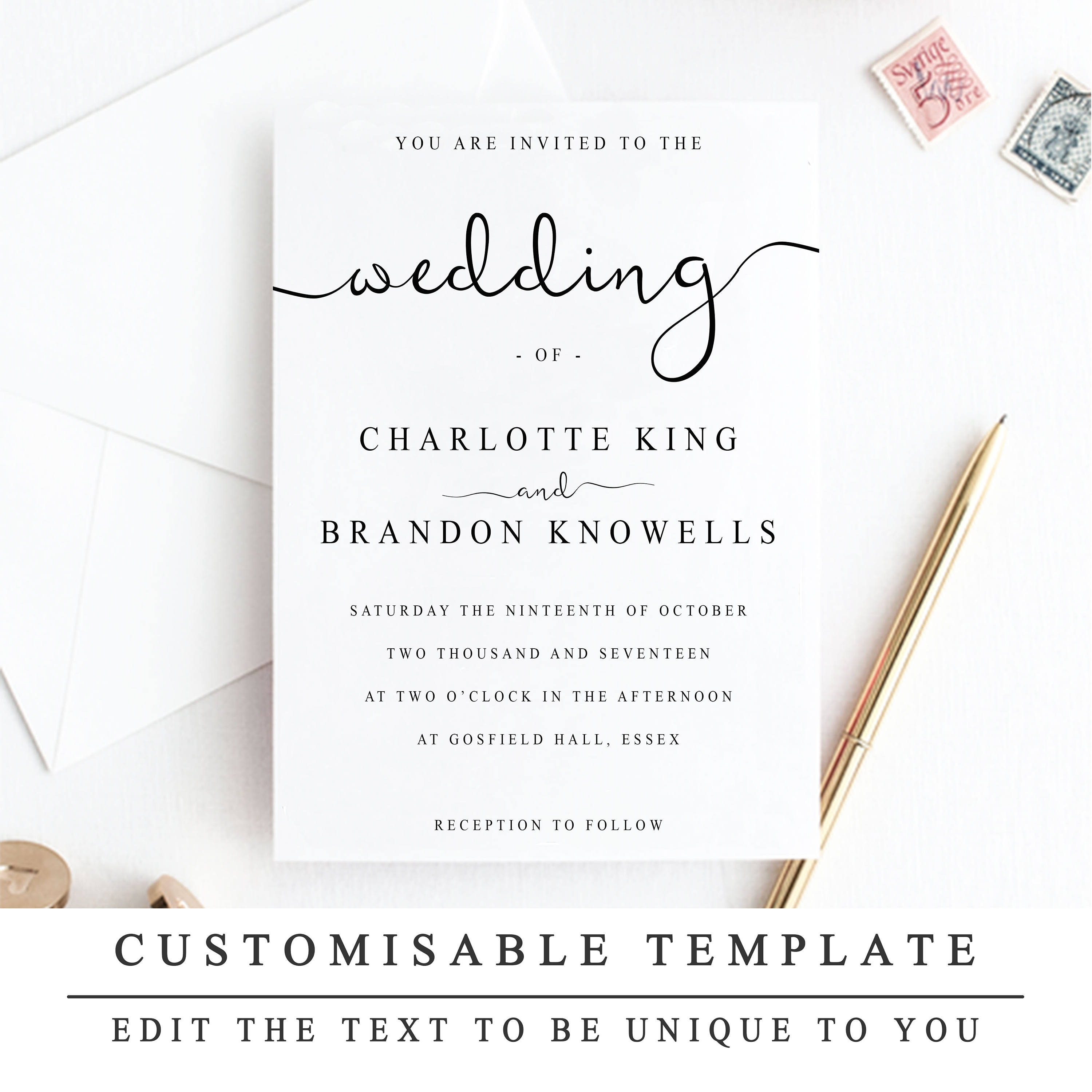 Print At Home Wedding Invitation Template DIY Instantly Printable 2 Sizes INSTANT DOWNLOAD