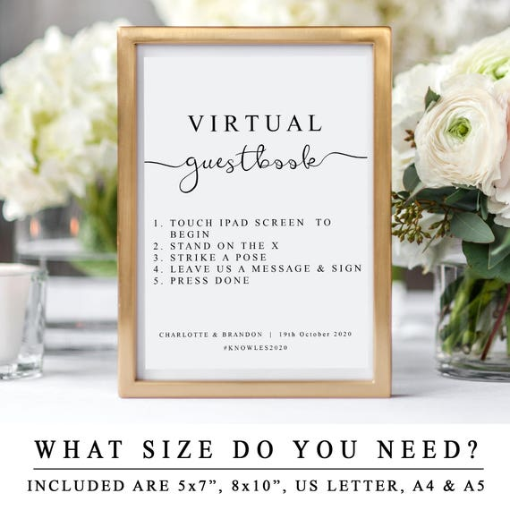 Custom Virtual Guestbook Sign Diy Wedding Guest Book Etsy