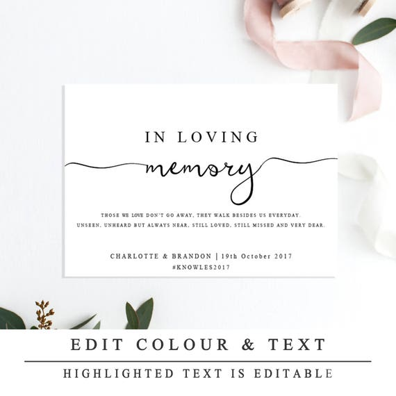 In Loving Memory Sign Template Printable In Memory Sign