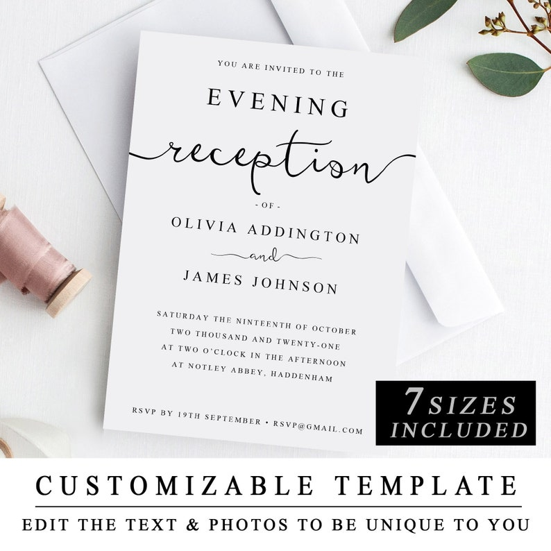 Print At Home Evening Reception Wedding Invitation Template DIY Printable Guest The One INSTANT DOWNLOAD