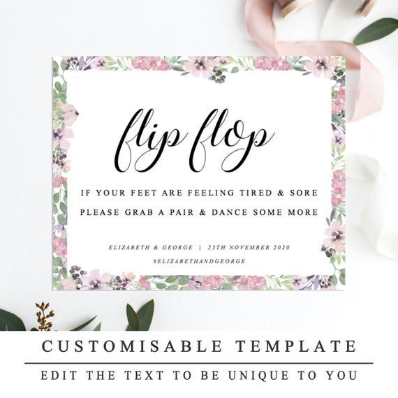Floral DIY Printable Wedding Sign Flip Flops