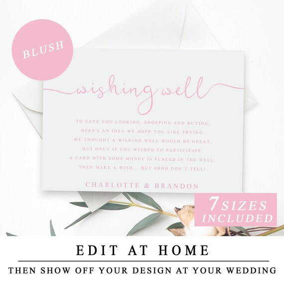 Wedding Wishing Well Card In Blush Pink Printable Wedding Etsy