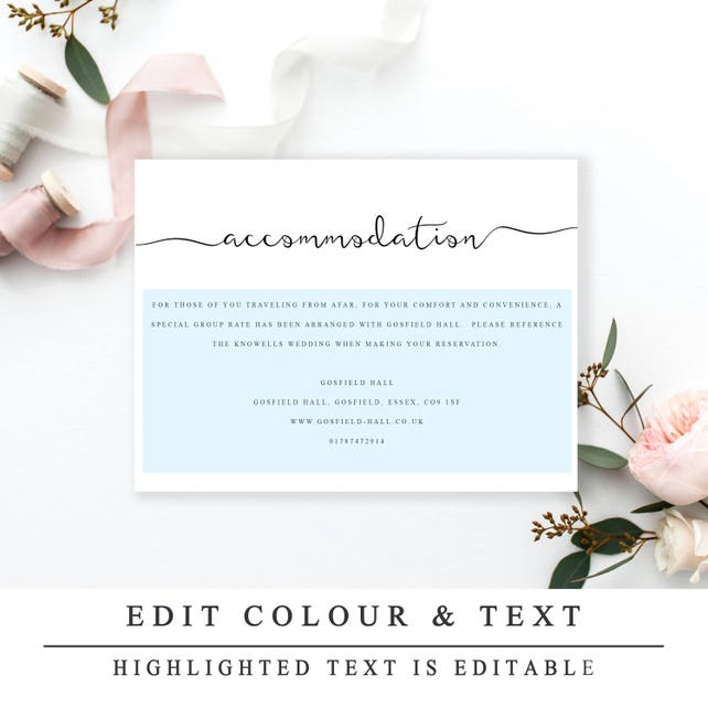 Accommodations Card Insert Wedding Information Card Template Diy