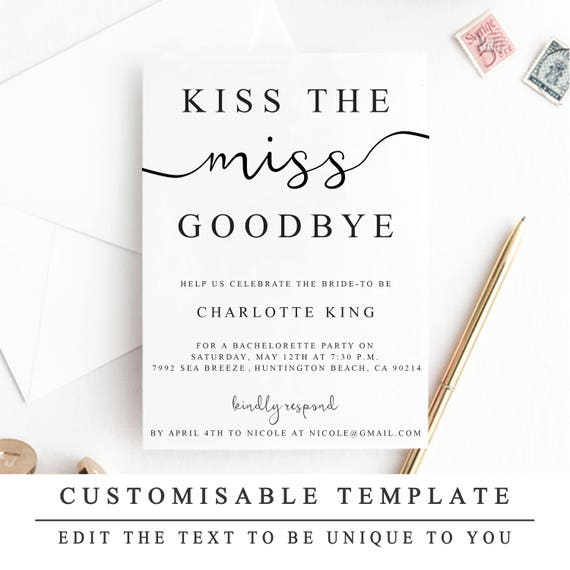 It's just an image of Kiss the Miss Goodbye Printable throughout strikeapose