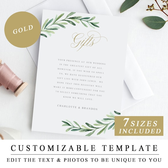 Greenery Gifts Cards Printable Wedding Gift Registry Template Etsy