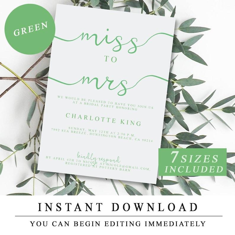 Custom Green Printable Bachelorette Weekend Invitation, Editable PDF, Hens  Weekend, Bridal Shower Invite, Hen Party Instant Download