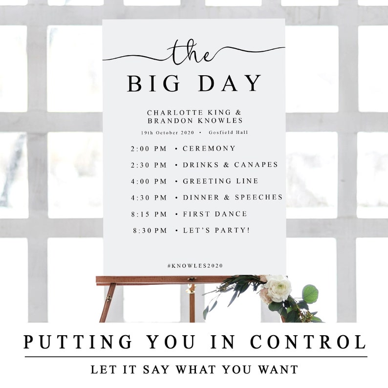 photograph relating to Wedding Sign Printable identify The Huge Working day Signal, Purchase of the Working day Wedding day Indication, Printable Wedding day Itinerary Timeline, Marriage Timeline Template, Program of Gatherings The 1