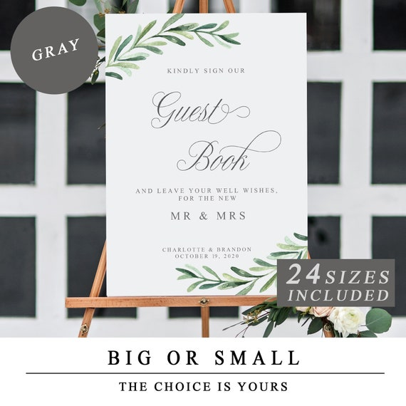 greenery wedding guestbook sign printable guest book signs etsy