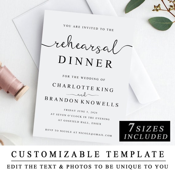 Printable Rehearsal Dinner Invitation Template The Night Etsy