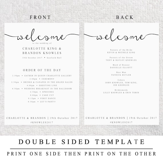 2 sided wedding program template printable editable wedding etsy