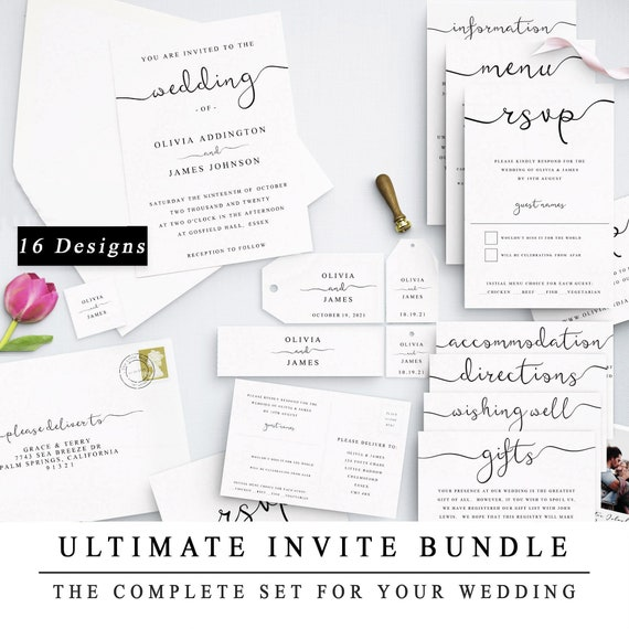 Ultimate Diy Wedding Invite Template Bundle Of 16 Different Designs Home Print Wedding Invitation Template Wedding Suite Instant Download