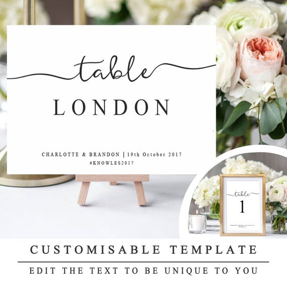 diy wedding table names and number template printable etsy