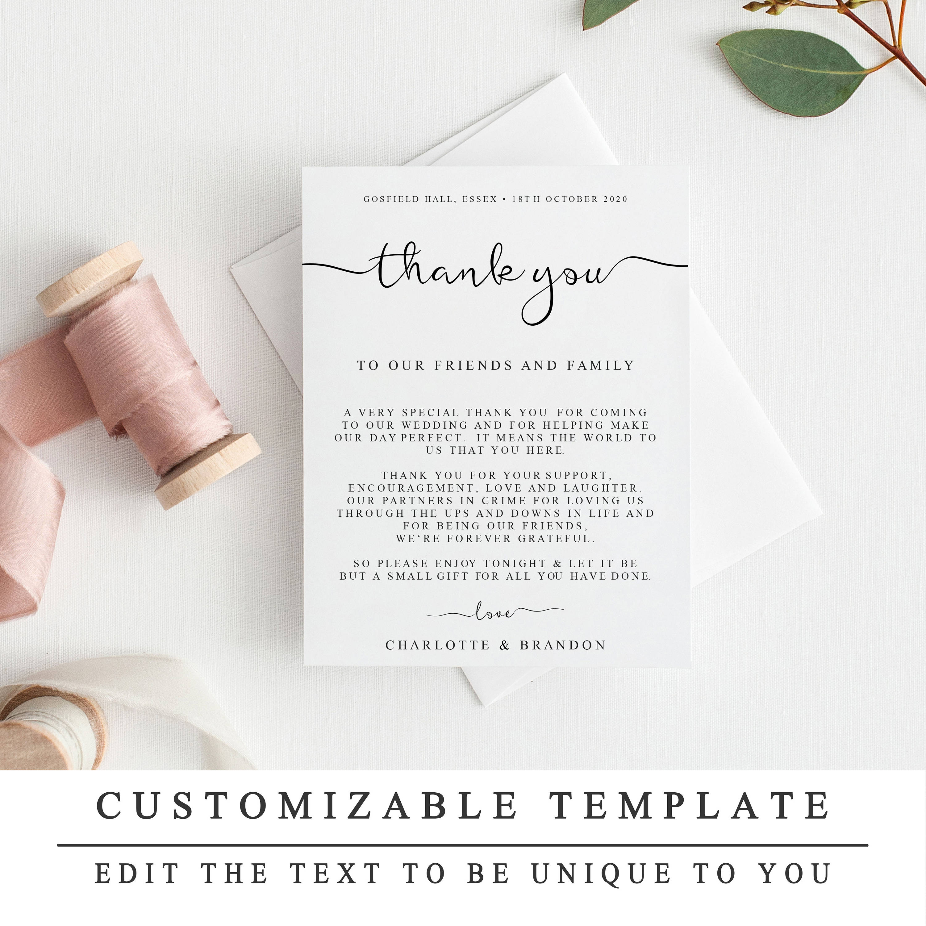 diy thank you card template wedding thank you cards etsy. Black Bedroom Furniture Sets. Home Design Ideas