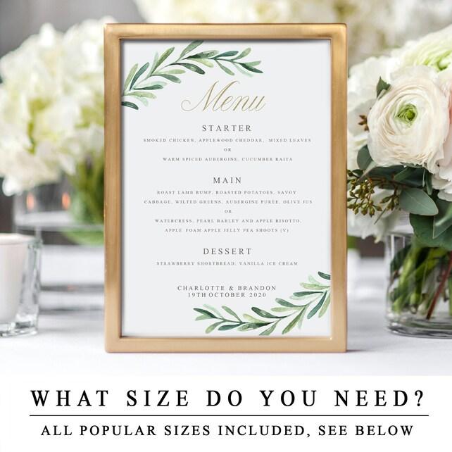 Greenery Wedding Menu Cards With Gold Calligraphy Diy Editable