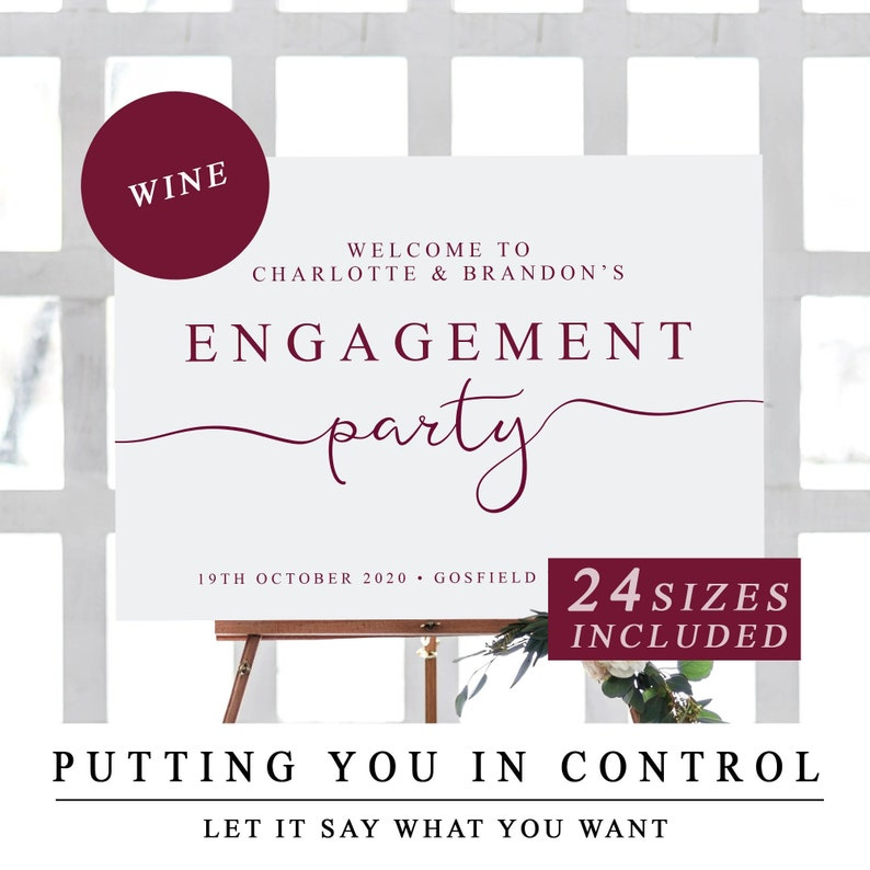 Custom Welcome To Our Engagement Sign Template Wine Welcome Etsy