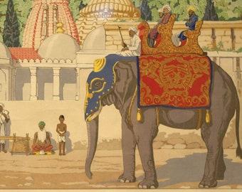 Ancient Indian Street poster, digital reprint