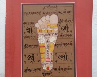 Tantric handmade painting sole of right foot, lotus, quiver, arrow