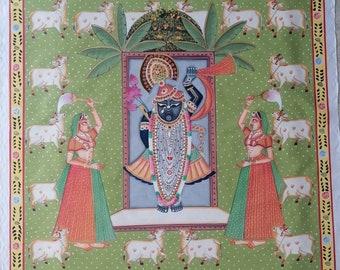 Pichwai handmade painting over fabric Shrinath ji Shri Krishna with attendants cows gopashtami festival