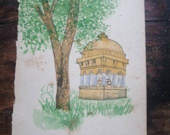 Mughal tomb urbanscape watercolor original painting