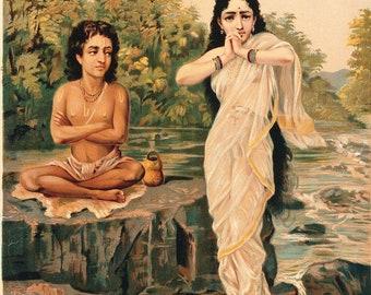 Shukra Rambha Raja Ravi Varma lithograph digital print poster