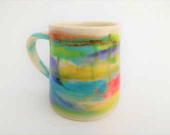 Ceramic mug, handmade, watercolor design, modern unique artsy, colorful, blue brown yellow purple red green, coffee hot chocolate beer, gift