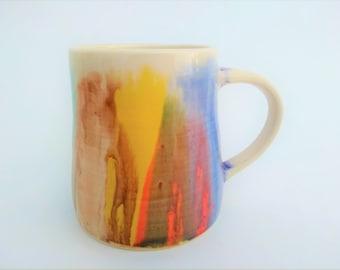 Large Ceramic mug, handmade, watercolor, colorful, modern, artsy, blue purple yellow red green brown, coffee, hot chocolate, birthday gift