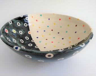 large ceramic serving bowl, handmade, hand-painted, modern design, unique gift, artsy home deco, colorful, fruit salad bowl, wedding gift