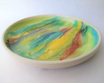 Handmade ceramic large flat plate, watercolor, modern unique, colorful, blue brown yellow chartreuse, serving plate, cake salad fruits, gift