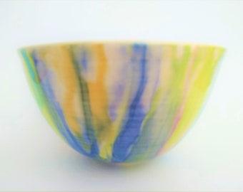 Large ceramic bowl, handmade, watercolor effect, modern, colorful, serving bowl, artsy deco, unique gift, orange green yellow purple blue