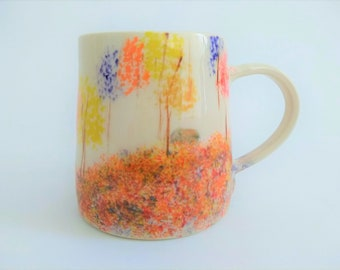 Large ceramic mug, handmade handpainted, nature, fall colors, trees birds house, red orange yellow purple brown blue, coffee mug, artsy gift