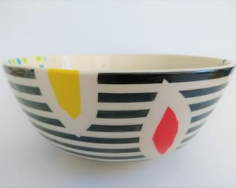 large ceramic serving bowl, handmade, handpainted, modern, unique gift, home deco, colorful, orange blue yellow green red purple white black