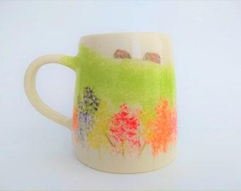 Large Ceramic mug, handmade handpainted, nature, fall colors, trees houses, red orange yellow purple green brown, coffee mug, birthday gift