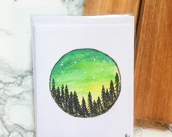 Greeting Cards- Wilderness Tree Watercolor- Notecards With Envelopes
