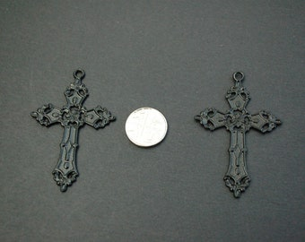 23mm x 15mm Million Charms 14K Two-tone Gold Religious Latin Cross Crucifix