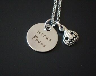 Silver tone Hocus Pocus pumpkin necklace