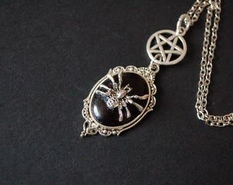 Gothic spider pentagram cameo necklace