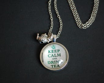 Keep calm and drink tea necklace