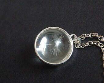 Silver tone dandelion dome necklace