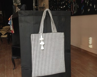 Black & White Fabric Handbag