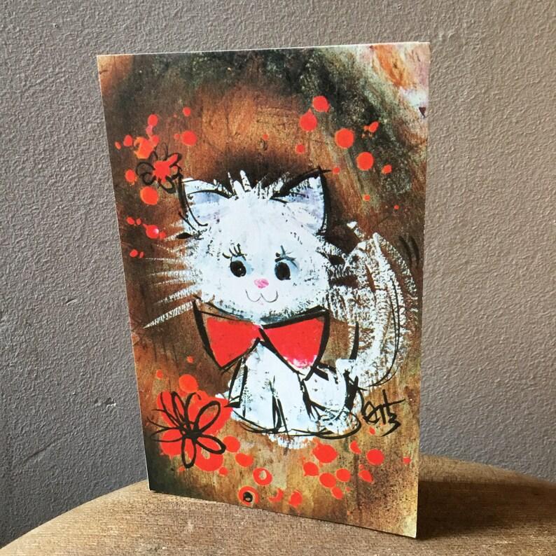 Vintage 1970/'s Happy Birthday Greeting Card Cute Tabby Cat Kittens Feline