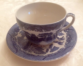 """Vintage 1920's-1930's LARGE Blue and White Transferware Cup and Saucer - """"Blue Willow"""" Pattern-Made in Japan"""