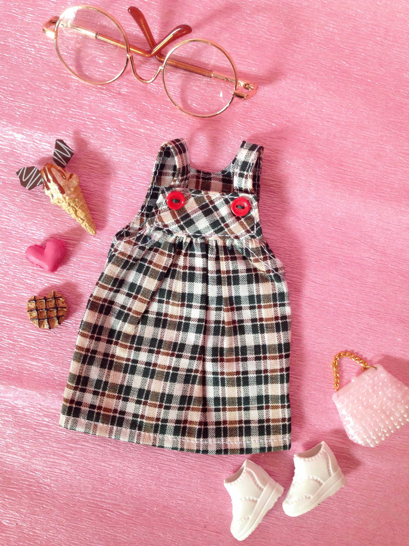 Licca Doll Outfits Mini Dress Check Tartan Red Neo Blythe