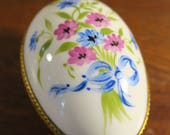 Limoges France Porcelain Egg Box with Flower Bouquet Tied with Blue Ribbon Bow